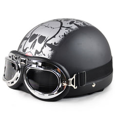 2017 Skull Open Face Motorcycle Helmet & Clear Chrome Goggles