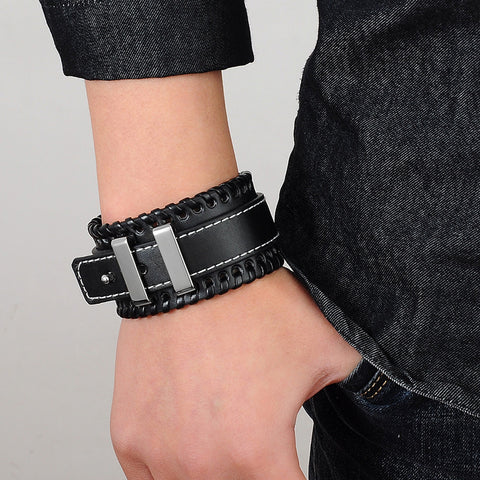 Punk Genuine Leather Vintage Mens Bracelets - Urban Street Zone1