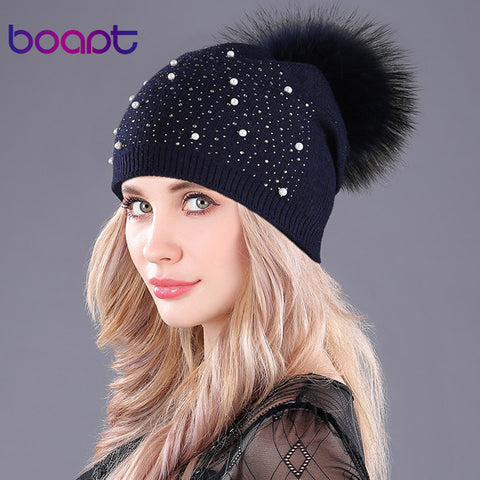 Ladies Diamond Pearl Bling Cashmere Beanie w/ 7 colors