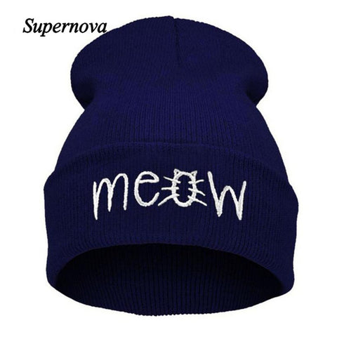 Ladies Kitty MEOW Beanie Urban Cap w/ 4 colors