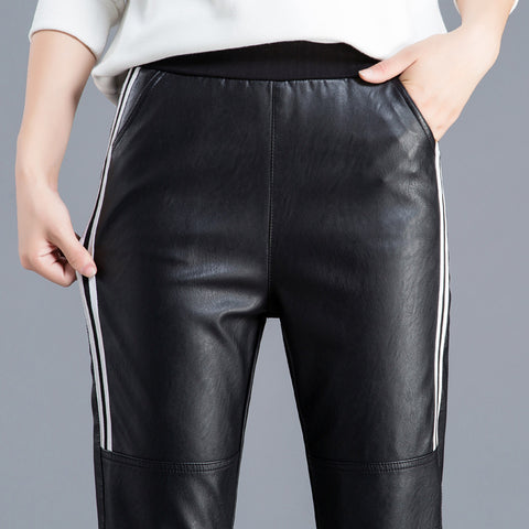 Striped Slim Harem Leather Ladies Trousers