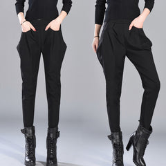 Personality Pockets High Waist Harem Ladies Trousers