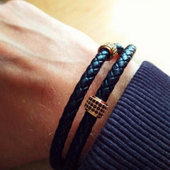 Stainless Steel Black Leather Bracelet