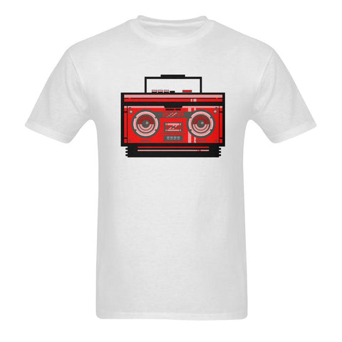 Sunny T-shirt(USA Size) - Red 80s Cassette Player Dj Boom Box Men's Tee