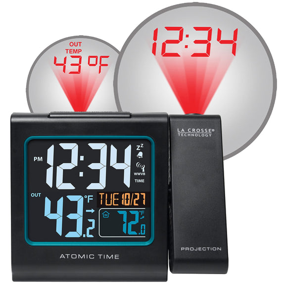 Atomic Projection Alarm Clock with Indoor/Outdoor Temperature - Lacrosse Technology - Northwest Radio Supply