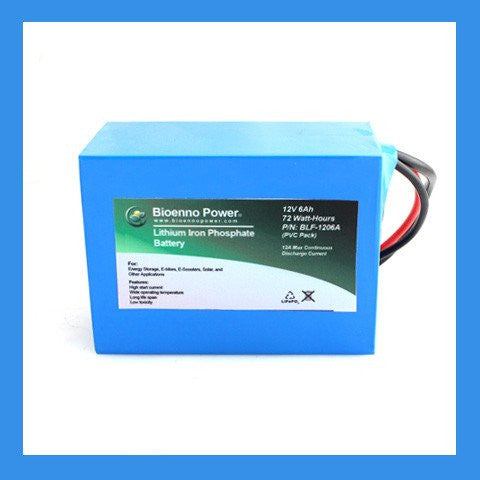 12V, 6Ah LFP Battery (PVC, BLF-1206A) and Optional Charger - BioEnno - Northwest Radio Supply