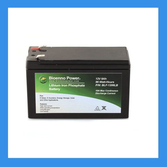12V, 8Ah LFP Battery, (ABS, BLF-1208LB) and Optional Charger - BioEnno - Northwest Radio Supply