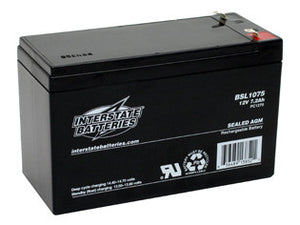 12V 8Ah SLA Battery w/Faston Tabs (BSL1075) - Interstate - Northwest Radio Supply