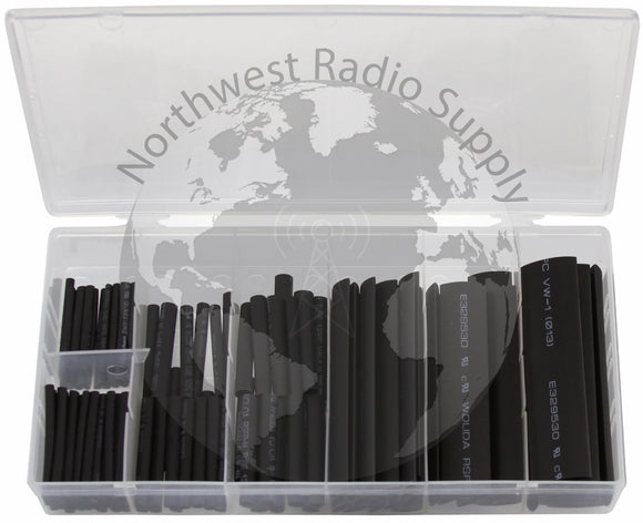 127 Piece Assorted Heat Shrink Tubing Kit Black Color by Powerwerx - Powerwerx - Northwest Radio Supply