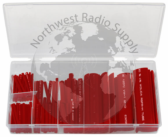 127 Piece Assorted Heat Shrink Tubing Kit Red Color by Powerwerx - Powerwerx - Northwest Radio Supply