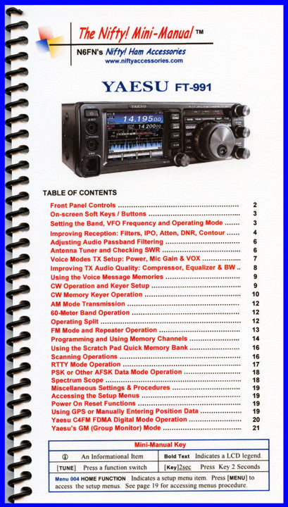 Yaesu FT-991 Mini-Manual by Nifty