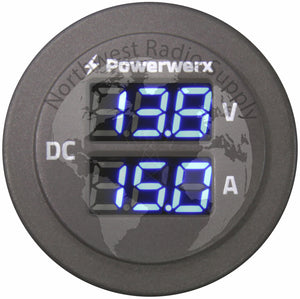 Powerwerx Panel Mount Combo Amp & Volt Meter for 12/24V Systems
