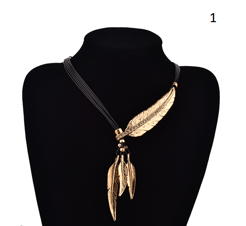 Bohemian Style Black Rope Chain Feather Pattern Pendant Necklace OFFER!!