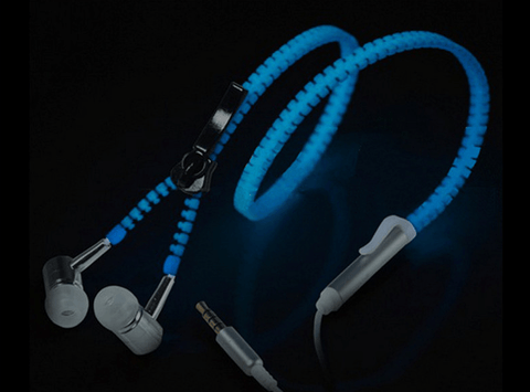 Light Metal Zipper Glow In The Dark Earphones