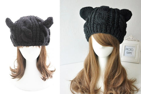 Lady Girls Warm Knitting Wool Cat Ear Beanie