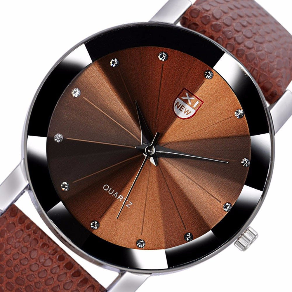 XI Men Luxury Stainless Steel Quartz Military Leather Band Watches