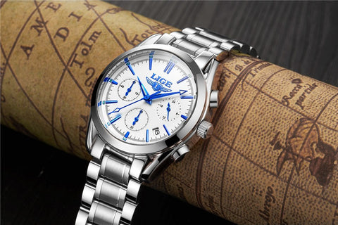 LIGE Fashion Chronograph Sport Mens Luxury Watches