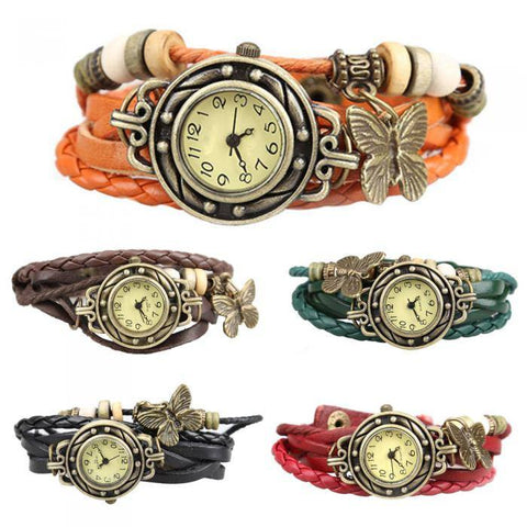 Vintage Retro Rivet Braided Bracelet Faux Leather Strap Wristwatch