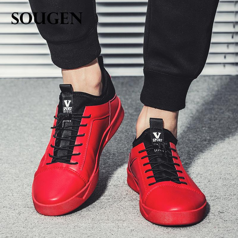 men's red leather shoes