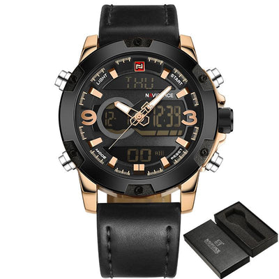 NAVIFORCE Analog Digital Leather army Sports Watches