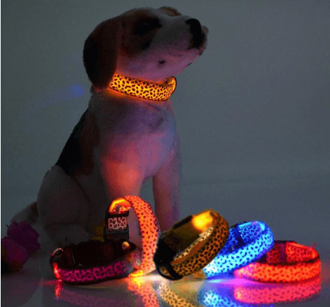 Dog/Cat Glow Flashing LED Leopard Print Collar Design OFFER!!