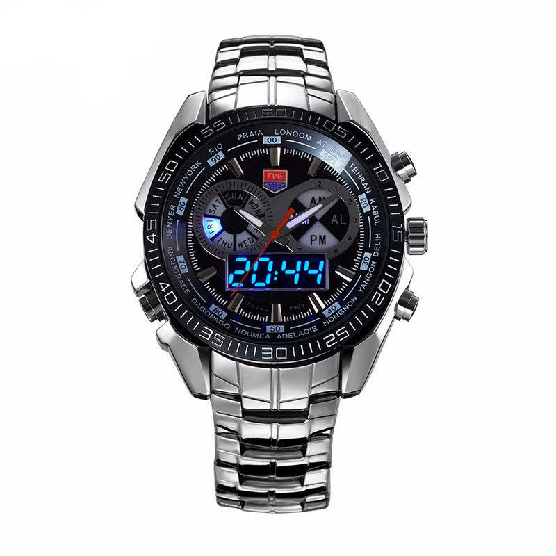 stainless steel military watch