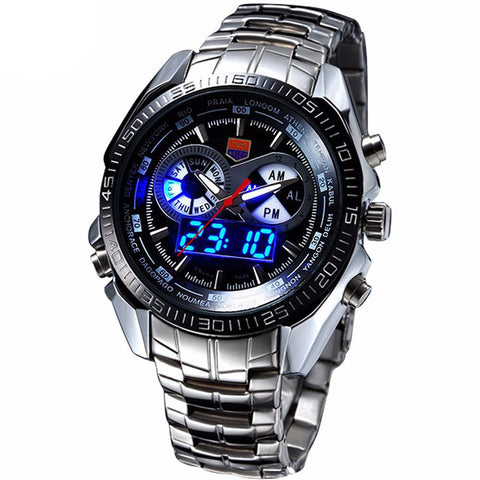 Stainless Steel Military Blue Binary LED Pointer Watch