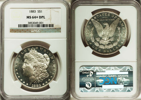 1883 MORGAN DOLLAR - NGC GRADED MS64+ DPL - DEEP PROOF LIKE GEM