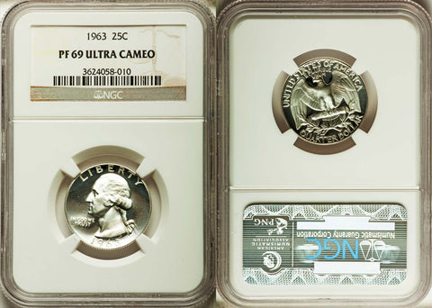 1963 Washington Quarter NGC GRADED PR 69 ULTRA CAMEO PRICE REDUCED!