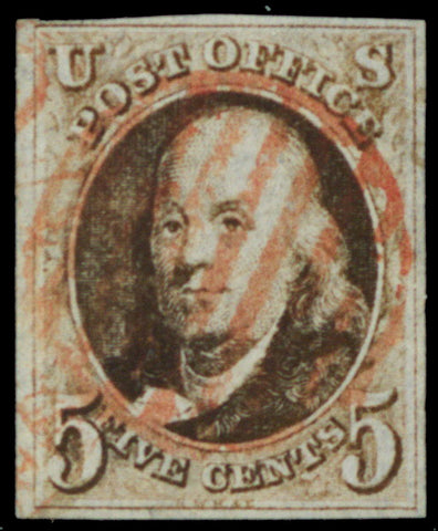 01, Used 5¢ VF-XF Centering Four Margin Copy Red Grid Cancel