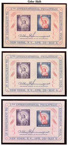 1075, Mint NH - THREE DIFFERENT COLOR SHIFT ERROR SOUVENIR SHEETS