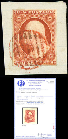 010A SUPERB GEM With Red Cancel - 3¢ Washington With PFC