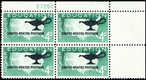 1206, MNH 4¢ Education Color Shift ERROR Plate Block of 4 Stamps