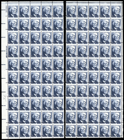 1280, Misperforated Separated Sheet of 100 Stamps ERROR
