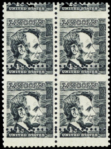 1292, Mint NH 4c Lincoln Misperforation Block of Four ERROR