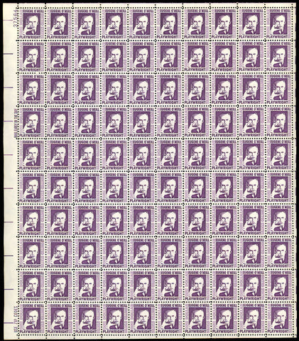 1294, $1 Eugene O'Neill Complete Fresh Sheet of 100 Stamps Mint NH