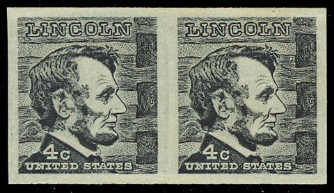 1303b, Mint XF NH 4¢ Lincoln RARE Imperforate ERROR Pair