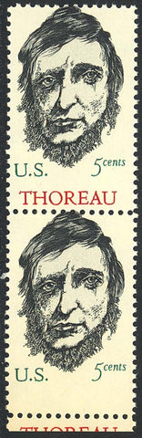 1327 Var, MNH 5c Thoreau RED MISSING ERROR TRANSITIONAL PAIR