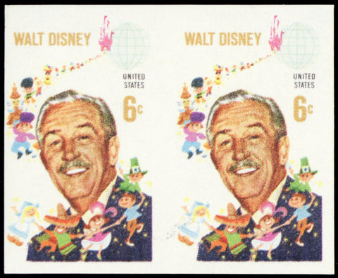 1355b, Mint NH 6¢ VF Disney Imperforate ERROR Pair of Stamps