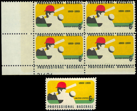 1381 HUGE Black Color Shift ERROR PL# Block of Four 6¢ Baseball