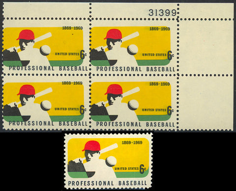 1381 Multi Color Shift ERROR PL# Block of Four 6¢ Baseball