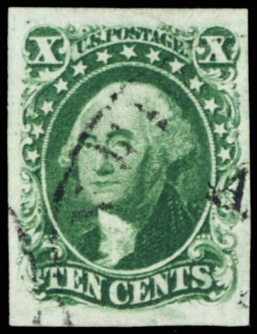 14, Used 10¢ Four Margin JUMBO Stamp With PFC Certificate