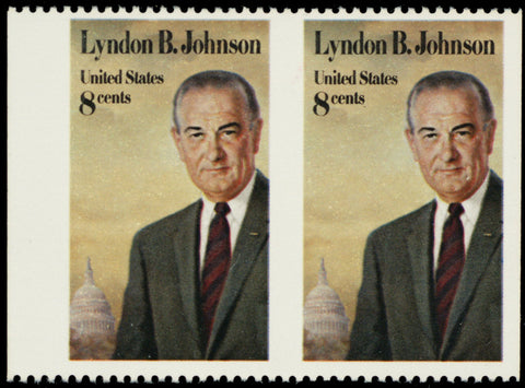1503a, MNH 8¢ L.B.J. Horizontal Pair Imperforate Vertically ERROR