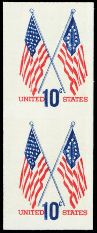 1509c, Mint NH 10¢ Flag Vertical Imperforate Pair ERROR