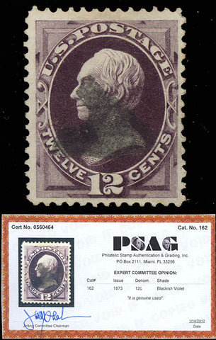 162 Used 12¢ - VF-XF - DEEP RICH COLOR With PSAG Certificate