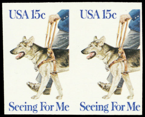 1787a, Mint NH 15¢ Seeing Eye Dog Imperforate ERROR Pair