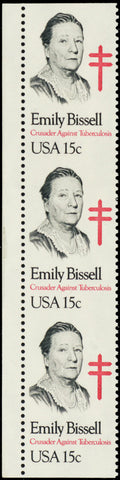 1823a, MNH 15¢ Emily Bissell Imperforate Between Strip of 3 ERROR