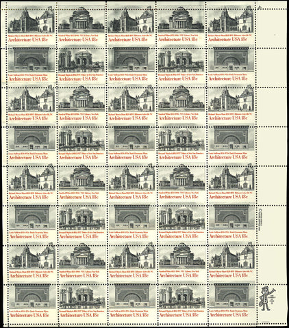 1931a Misperforate ERROR Sheet of 40 Stamps Architecture - Mint NH