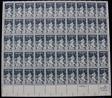 2046, Mint NH 20c Babe Ruth COMPLETE SHEET OF 50 STAMPS