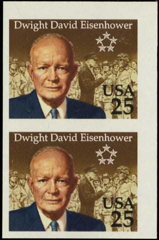 2513P, MNH XF Imperforate Pair 25¢ Eisenhower Proof Cat $875.00